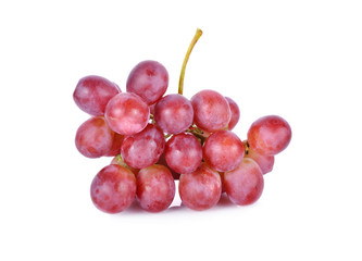 bunch of fresh grapes with stem on white background