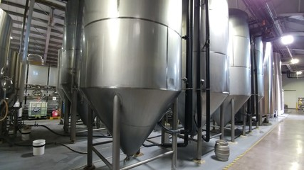25 bbl Stainless steel fermentation tanks in brewery