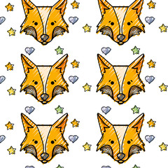 grated cute fox head animal with stars ans hearts background