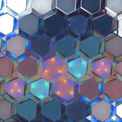 Abstract geometric ornament with blue and orange fractured shapes. Fantasy hexagonal fractal background. Psychedelic digital art. 3D rendering.