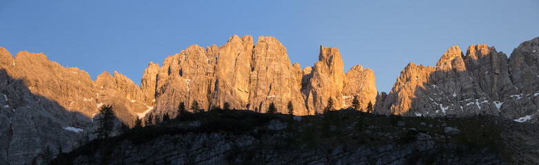 The mountain group of Sorapis during a sunset, Cortina D'Ampezzo, Dolomites, Italy