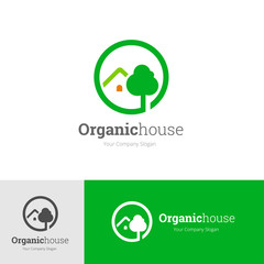 Organic house logo, Green and nature icon design for real estate brand identity. Vector illustration.