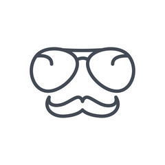 Police Equipment line icon mustache glasses