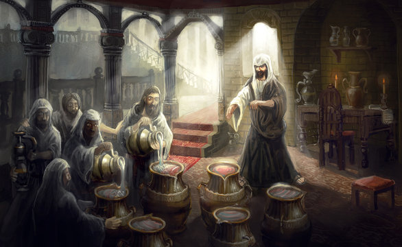 christ turning water into wine