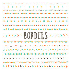 Set of hand drawn borders and dividers. Vector hand drawn design elements