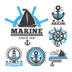 Marine and nautical logo templates or heraldic symbols.