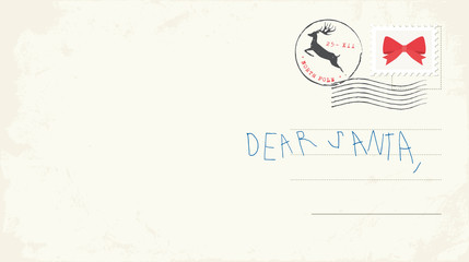 Handwritten letter to Santa from child. Vector Illustrtion