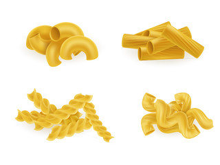 Various types and shapes pasta and macaroni realistic vector illustration set isolated on white. Italian national cuisine traditional ingredient. Natural healthy eating food