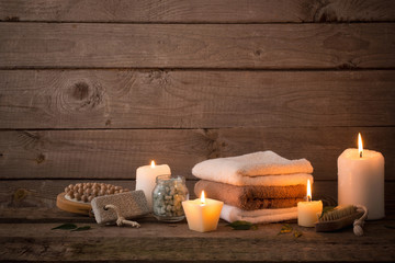 Beautiful composition of spa treatment on dark wooden  background