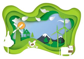 Keuken foto achterwand Lime groen Rural farm and nature landscape paper carve concept.Agriculture conceptual design paper art style.Vector illustration.