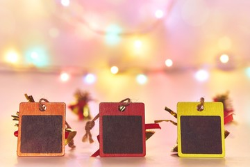 Christmas background and Happy New Year background, Black Chalkboard with bokeh lights and  season decorations, space for a text