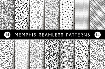 Collection of Swatches Memphis Seamless Pattern.
