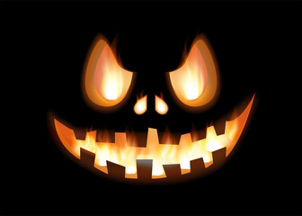 Colorful halloween vector illustration with scary face on black