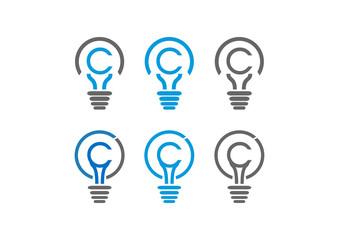 Line Art Lighbulbs and Lamps Letter C Illustration Logo Symbol