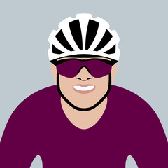 bicyclist head vector illustration flat style front