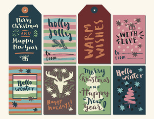 Merry Christmas and Happy New Year calligraphic set of greeting cards and gift tags. Hello Winter, Happy Holidays, Holly Jolly Christmas, With Love, Warm Wishes artwork