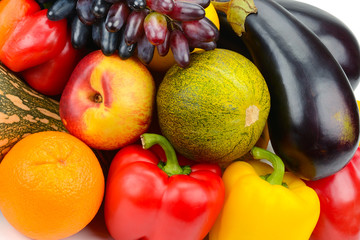 background of a set of vegetables and fruits