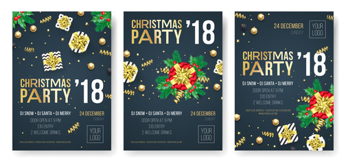 Christmas party invitation poster design template for winter holiday December 2018 celebration night. Vector present gift in golden ribbon bow on New Year black premium party background