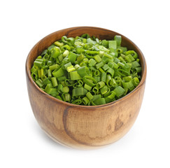 Bowl with fresh green onion on white background