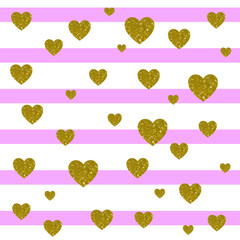 VECTOR. Card background. Light pink and white stripes and golden hearts