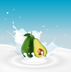 Milk splash with avocado