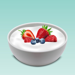 Yogurt bowl with mixed fruits