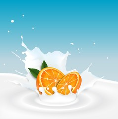 Milk splash with orange fruit