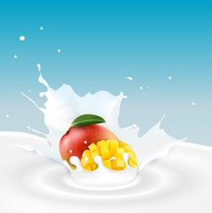 Milk splash with mango