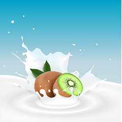 Milk splash with kiwi fruits