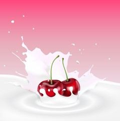 Milk splash with red cherries