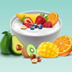 Yogurt bowl with mixed fruits