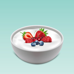 Sour cream bowl with healthy fresh fruits