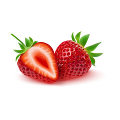 Realistic strawberry isolated on white background