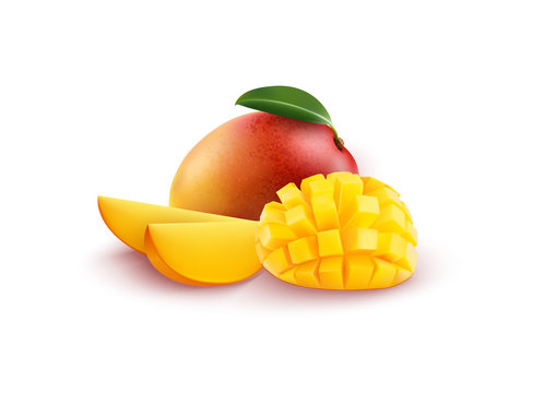 Ripe fresh mango with slices and leaves