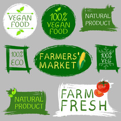 Farmers' market fresh food and vegan food logo. Hand drawn illustrations isolated on gray. VECTOR
