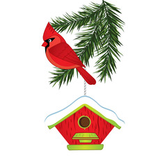 Vector Cardinal, Pine Tree Branch and Birdhouse