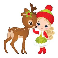 Vector Cute Little Girl with Baby Deer