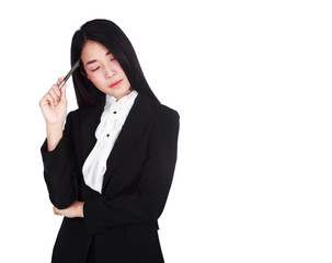 business woman thinking isolated on white background