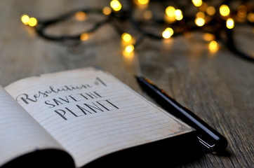 RESOLUTION No. 1 : SAVE THE PLANET brush calligraphy in notebook with bokeh lights