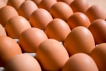 Fresh organic panel eggs on sackcloth  (gunny) with copy space for text