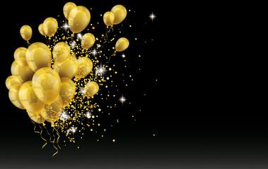 Golden Balloons Golden Particles Confetti Black Background Fotomurales