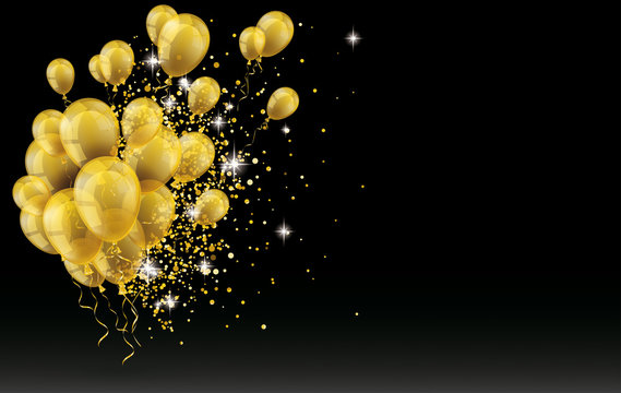 Golden Balloons Golden Particles Confetti Black Background