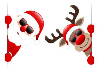 Dark Red Santa & Rudolph Sunglasses Diagonal Inside Banner