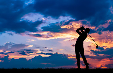 silhouette golfer playing golf during beautiful sunset