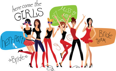 hen-party, fashion beauty girls, image of girlfriends for party, vector design poster with leetering