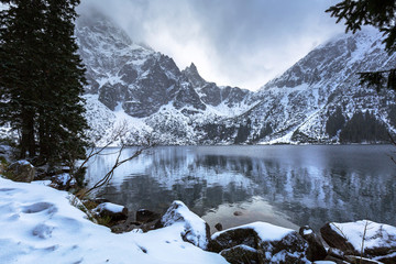 Beautiful Tatra mountains view at Eye of the Sea lake, Poland