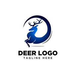 Globe run deer logo