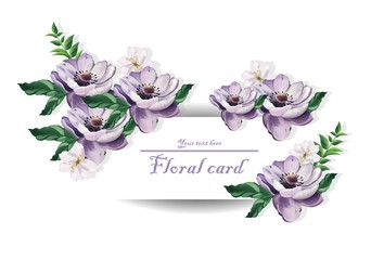 Vintage card Beautiful purple flowers Vector illustration. Floral pattern backgrounds