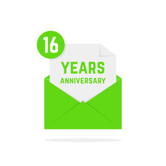 16 years anniversary icon missive in green letter