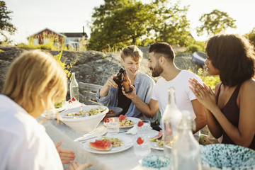 Men toasting beer bottles while sitting with friends at picnic table